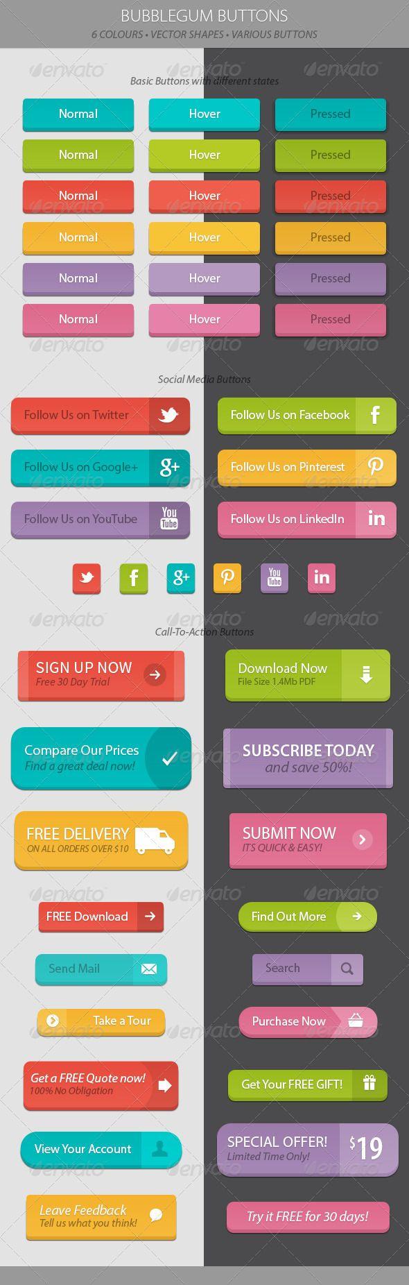 Bubblegum Web Buttons. Download: http://graphicriver.net/item/bubblegum-web-buttons/6610517?ref=ksioks