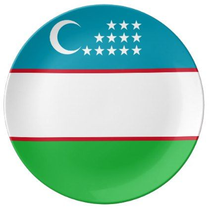 Uzbekistan Flag Plate - home gifts ideas decor special unique custom individual customized individualized
