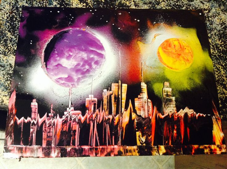Spraypaint Art Graffiti New York Skyline Lakeside by SchtreetArt96, $14.00