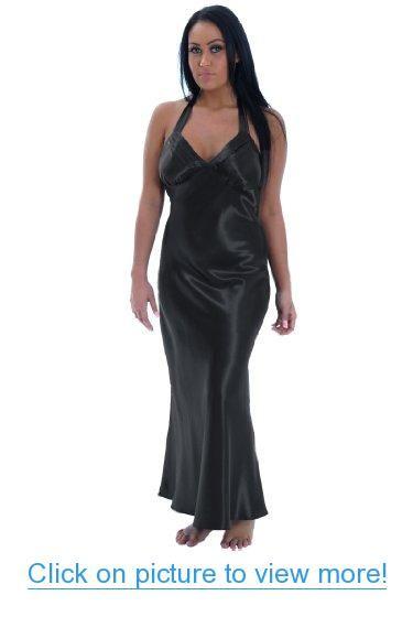foto de Plus Size Nightgown Black Satin Charmeuse Long Halter