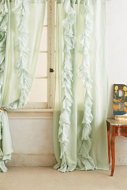 Bedroom #AnthroRegistry curtains ruffled like a nightie for your windows! $148 Wandering Pleats Curtain - anthropologie.com