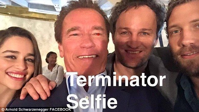 Hanging with the boys: Clarke, left, was included in Arnold Schwarzenegger's selfie of the Terminator Genisys cast in March