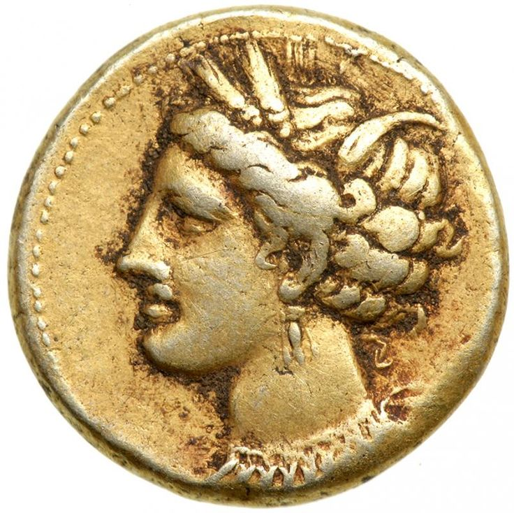 Zeugitania, Carthage. Electrum Stater (7.4 g), ca. 290-270 BC. VF Wreathed head of Tanit left, wearing a necklace and triple pendant earring. Horse standing right; four pellets below. Jenkins & Lewis grp. VI, 327 (same dies?); MAA 13. Well centered and toned. Estimated Value $600 - 700. #Coins #Ancient #Silver #MADonC