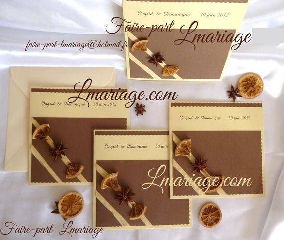 faire part mariage th me pices en vanille et marron glac. Black Bedroom Furniture Sets. Home Design Ideas
