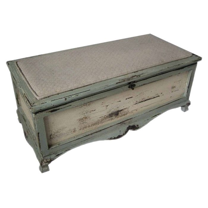Features:  -Metal latch for locking attached seat top in place.  -Chest is finished all the way around.  -Color appears blue/green.  Bench Type: -Entryway bench/Bedroom bench.  Seat Material: -Metal/W