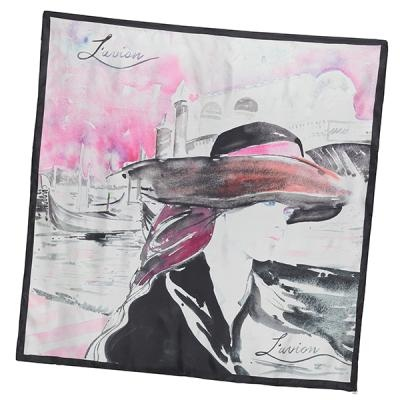 L'avion Venice scarf. Watercolour painting by Cate Parr for L'avion. The classic combo of black and white complemented by a splash of pink