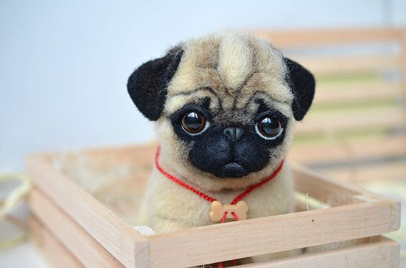 Needle Felted Pug Puppy Funny Cute Dog Realistic Animal Sweet