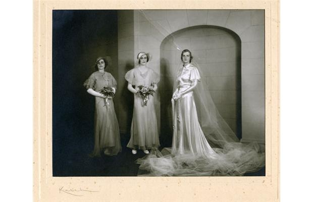 Gwenyth (Grant) Fenton; modelling wedding gowns for Devlin's at the Chateau Laurier