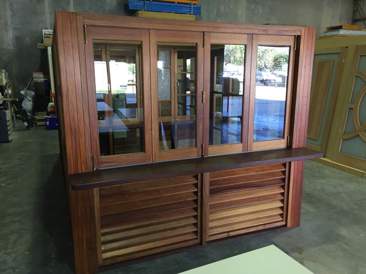 Timber louvres and Windows and Servery top