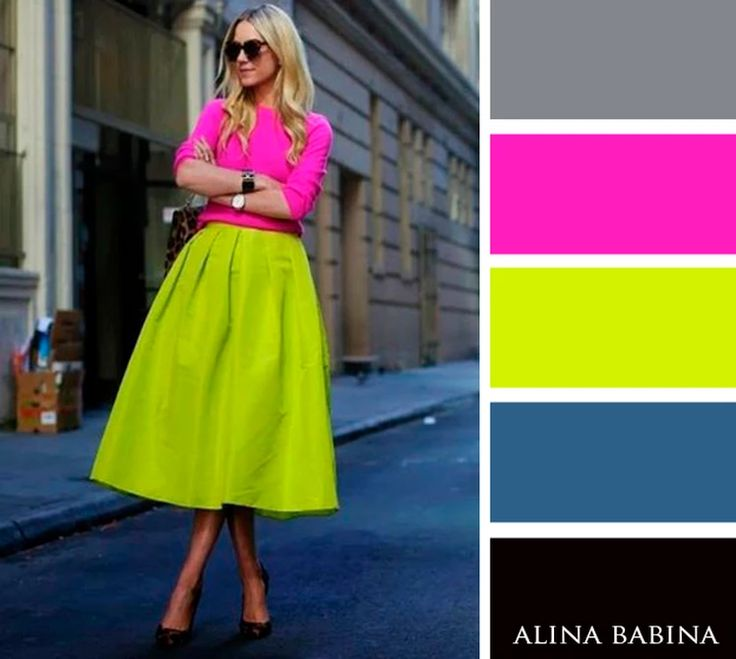 NEUTRALS: Black, Gray || ACCENTS: Hot Pink, Lime Green, Medium Blue