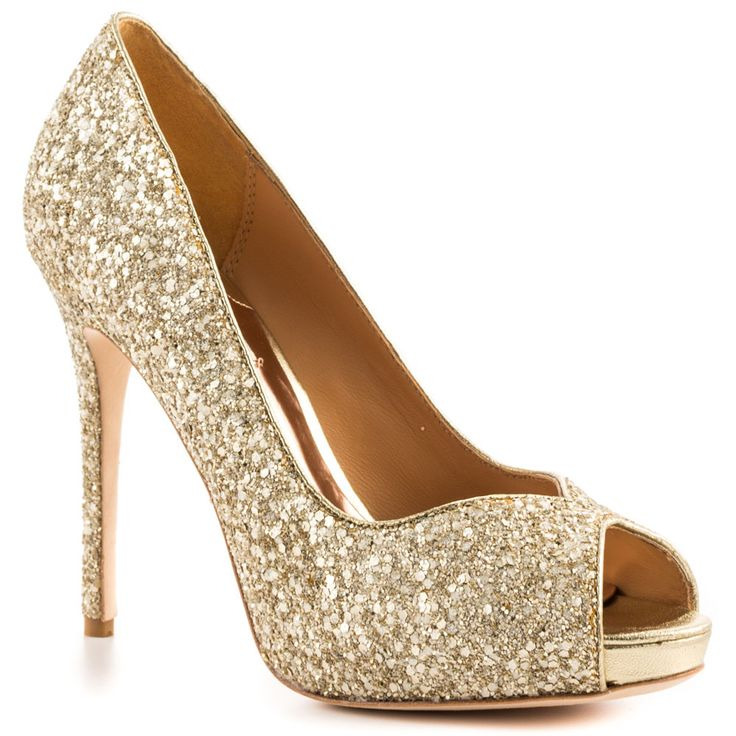White and Gold Wedding Shoes. Sparkly Glitter Heels. Bride Shoes. Shoe clip waiting to happen. Kassidy - Platinum Glt main view