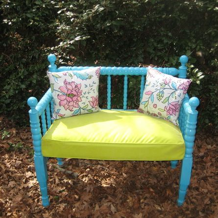 This custom garden bench was crafted using an old headboard and foot board. | 2013 TOH Dont Buy It, DIY It! Contest
