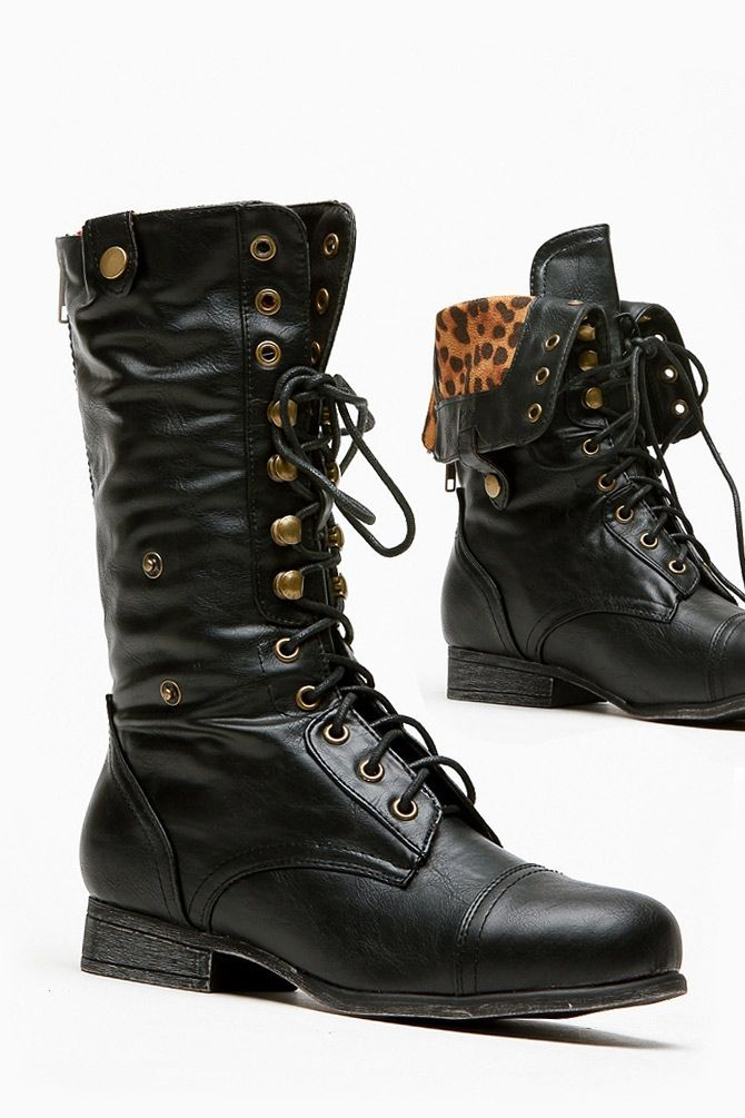 Fold Over Leopard Print Combat Boot