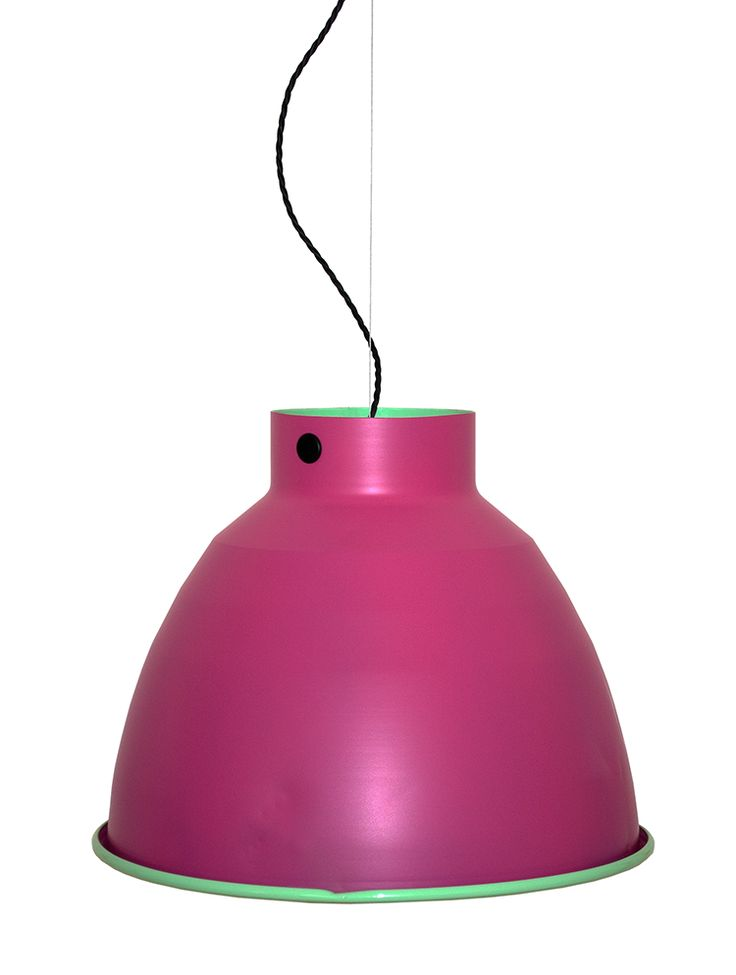 Hot pink and industrial pendant light from the Candy Collection factory pendant by Auxilium