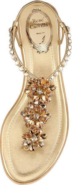 Rene Caovilla Crystal-Flower Thong Sandal in Gold