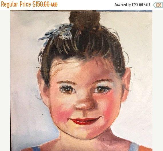 ON SALE Custom portrait painting 12x12 inch on by ArtByJenBiscoe