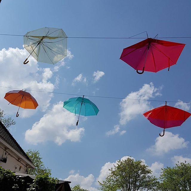 #lunch #terras #hotelarena #amsterdamoost #colorful #umbrella #paraplu #parasol #sun #bluesky #clouds #amsterdam #dutch #atamsterdam #mokummagazine #atamsterdam #020 #igersholland