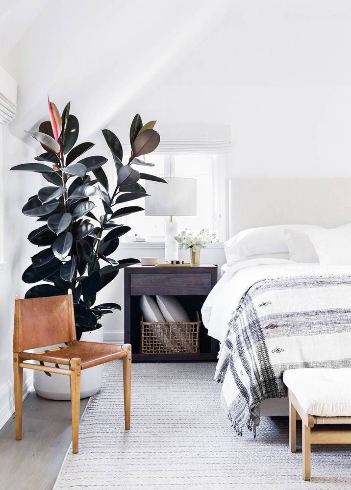 Love the minimalist-yet-cozy vibe of this neutral bedroom // love the potted plant