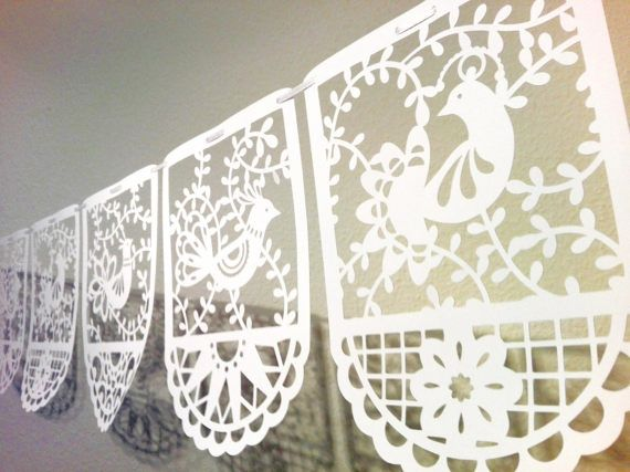 paper cut bird garland picado style bounting party by RubiaCraft