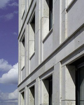 Detail of the facade of an office and apartment bulding by Walter Arno Noebel on the Leipziger Platz in Berlin.