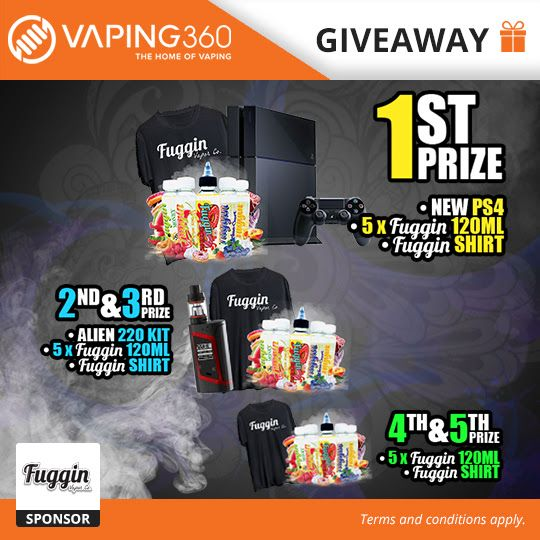 #Giveaway #Win Last day! #PS4, 2 x #Smok Alien 220w Kit, 3000ml #Fuggin #eJuice #vape #vaporizer #vaping @Vaping360 https://wn.nr/NKTmU5