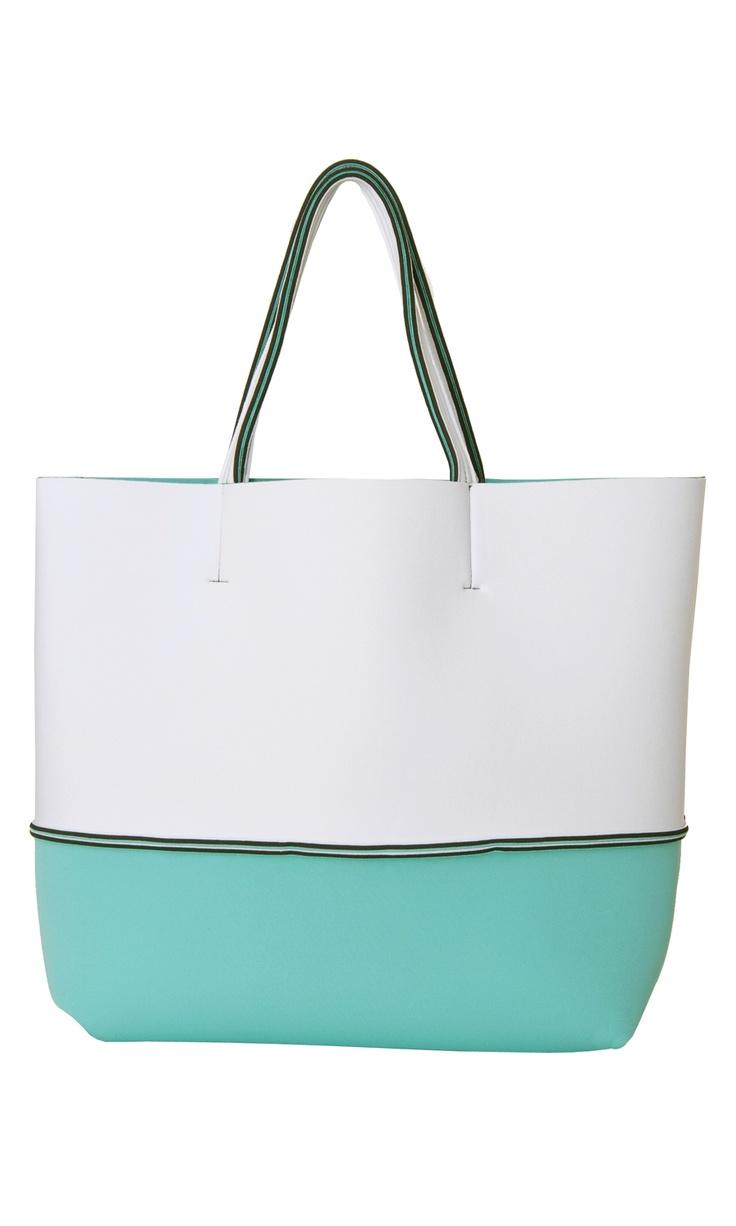 Leghilà Bi-color neoprene Beach Bag - White & Light Blue #bag