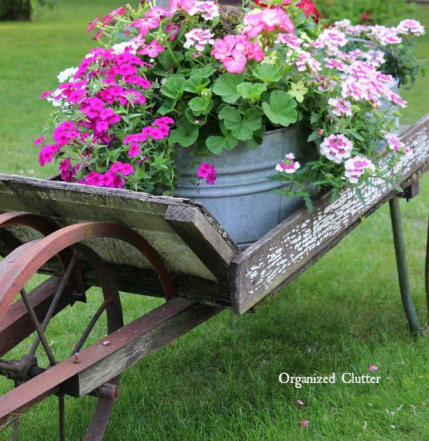 Rustic Garden Wheelbarrow 2015 via OrganizedClutter.net