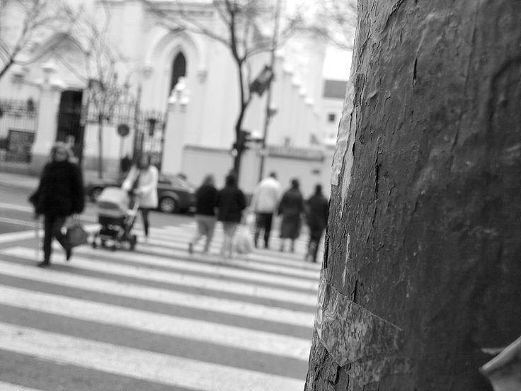 Cruzando las calles del barrio Salamanca de Madrid