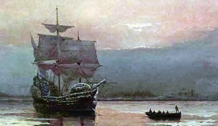 "Sept. 16, 1620, aboard the Mayflower, its 102 passengers spending 65 days at sea. The Mayflower dropped anchor near present-day Provincetown on Nov. 21, 1620, and 41 male passengers signed the Mayflower Compact, an agreement to enact ""just and equal laws for the general good of the colony."" The Pilgrims finally landed at the site of present-day Plymouth, Mass., on Dec. 26, 1620."
