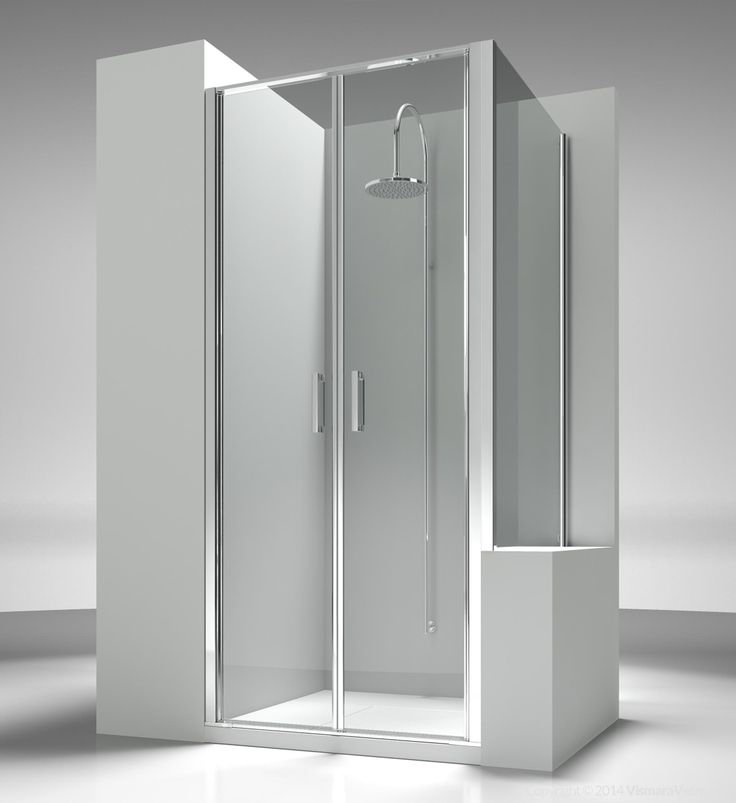 Shower enclosure placed next to bath tub or small wall, with two pivot doors and a side short panel. The standard height of the complete programme is 195 cm, so to propose Linea as natural component of the new generation of shower trays, partially or totally built in. Shower enclosures Linea by @vismaravetro | LB+LP