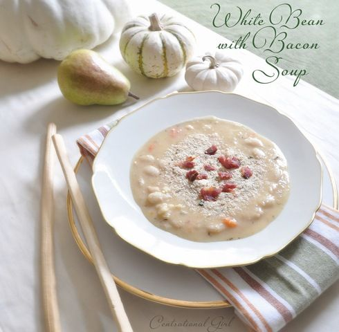 white bean with bacon soup in bowl