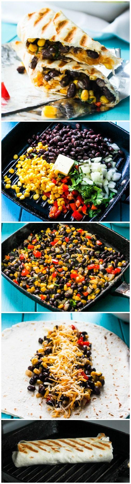 Quick and Easy Crispy Black Bean and Rice Burritos– Use vegan alternative
