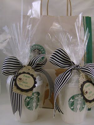 """Teacher Gift: Starbucks giftcard in a cup, says """"Thanks A Latte""""-- I even have a stamp that says that!! :)"""