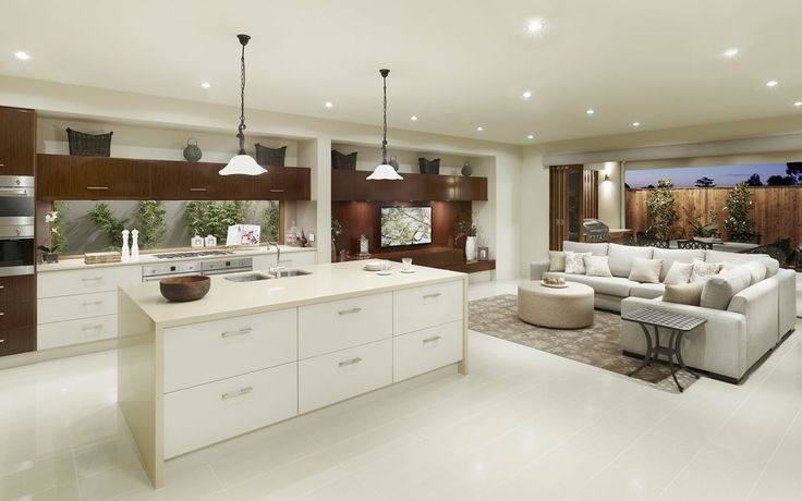 metricon homes kitchen. Fabulous island bench Warmth in cabinets carried through into open living, great continuity.