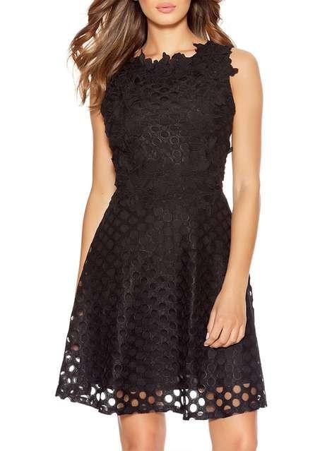 c192b3dc11eea Quiz Black Crochet Skater Dress - Dresses - Clothing