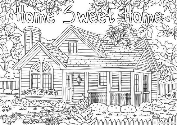 Home Sweet Home - Printable Adult Coloring Page from ...