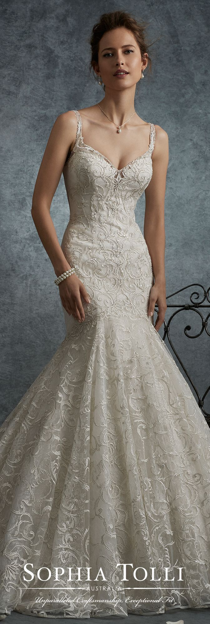 New Lace illusion back trumpet wedding dress Sophia Tolli Y