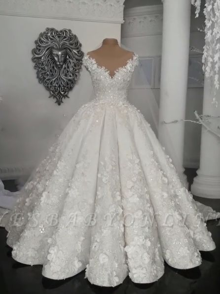 Glamorous Ball Gown Wedding Dresses | Off-the-Shoulder Floral Beading Bridal Gowns BC0708