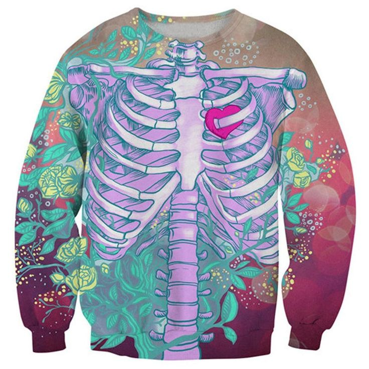 Human Skeleton Rib Cage Heart Anatomy and Floral Print Pullover Sweatshirt Sweater | DOTOLY