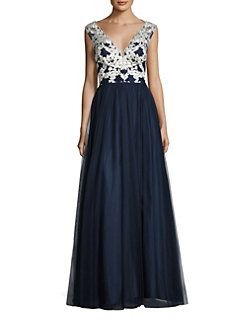 Aidan Mattox - Embroidered Tulle Gown