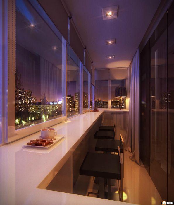 Высокий подоконник с глянцевой поверхностью и неоновой подсветкой подойдет тем, кто любит проводить вечера в компании друзей.