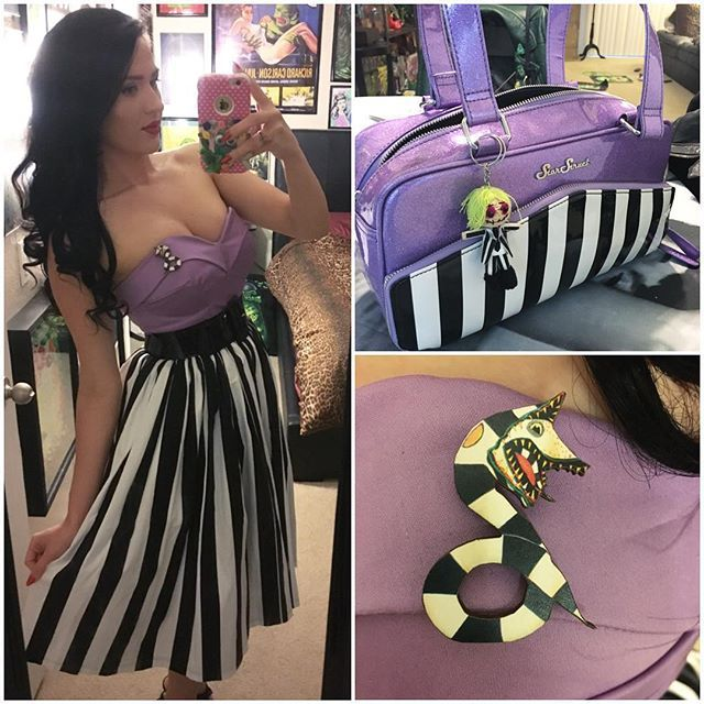 @pretty_hate_machine OOTD!! Beetlejuice style with my @fablesbybarrie lavender top, @pinupgirlclothing stripe Jenny skirt, @starstruckclothing purse ( I added the beetlejuice doll, I got him off eBay) and my sandworm brooch made by @designoddity13 !!! #beetlejuice #retro #rockabilly #sandworm #psychobilly #timburton #ootd #pinupgirlclothing #fablesbybarrie #starstruckclothing #designoddity13