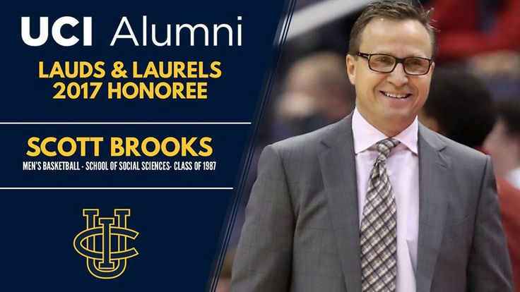 Scott Brooks ('87 Social Sciences) honored as Outstanding UCI Alumni Athlete.  NBA head coach of the Wizards (2016-17) and Thunder (2008-15).  Led OKC to 4 division titles, 2012 NBA Finals & named 2010 NBA Coach of the Year.  Played 10 NBA seasons winning a title with the 1994 Houston Rockets.  Scored 43 points in a win over Utah State on opening night of the Bren Events Center & averaged 23.8 pts. as a UCI senior.