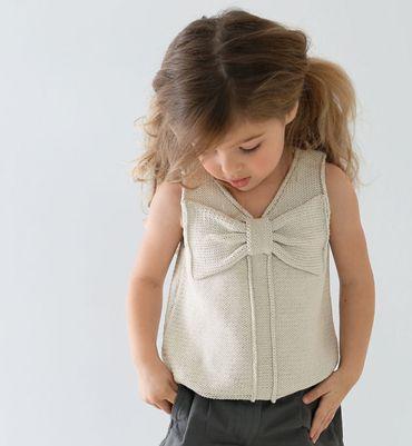 Modèle débardeur à noeud en coton fille, catalogue Printemps-Eté n°89 Bébé/Enfant, aig 2 à 3 (pas de tu