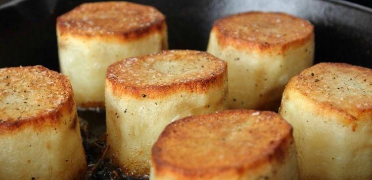 Fondant Potatoes - video  3 russet pot 2 T veg oil salt & Pepper Knob butter  (ca 3T) 4 thyme sprigs 1/2 c ckn stock