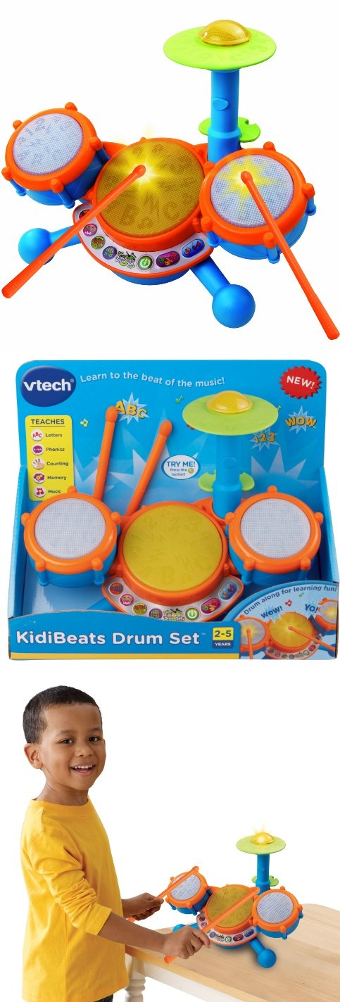 VTech KidiBeats Drum Set - Your child can rock out and learn with the VTech KidiBeats Drum Set! This drum set for kids comes with a pair of drumsticks that can be used to tap the four different electronic learning drums. Your c... - Electronic Toys - Toys$17.49
