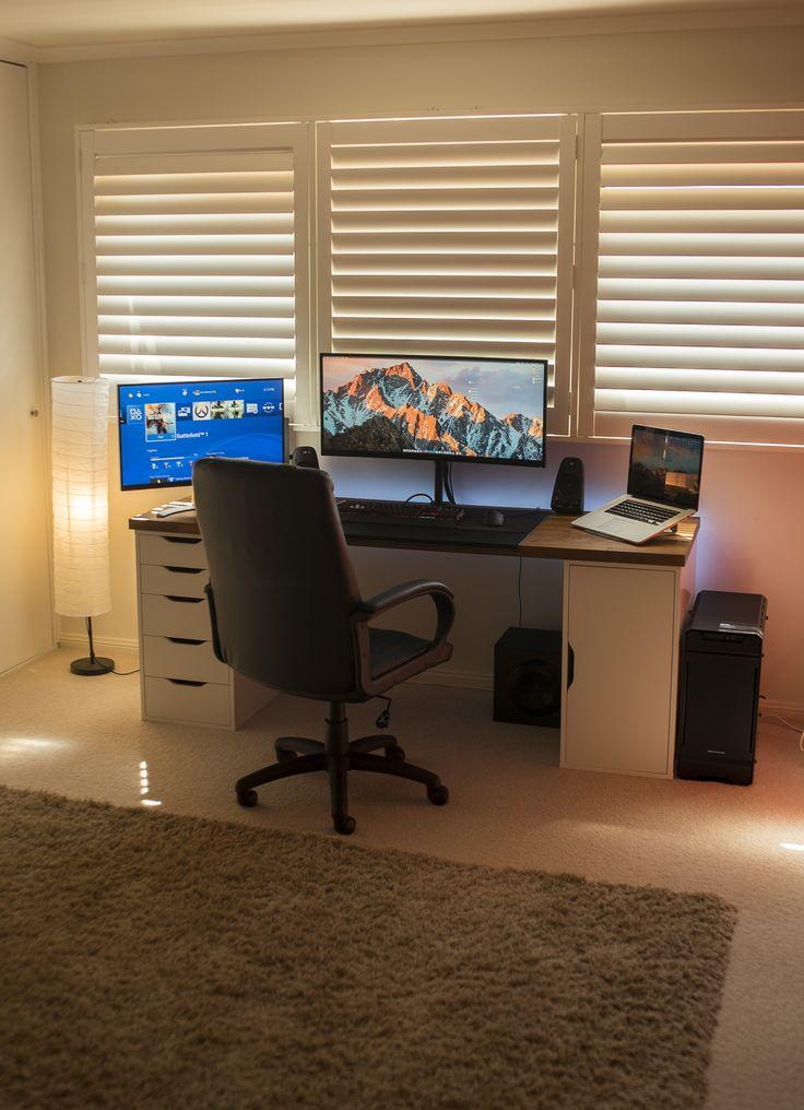 best 25 gaming desk ideas on pinterest. Black Bedroom Furniture Sets. Home Design Ideas