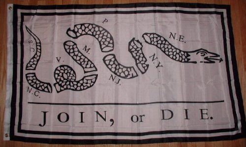 3x5 Foot Polyester Join or Die Flag by bcn. $4.79. 2 grommets. polyester. 3x5 Foot Polyester Join or Die Flag. 3x5 Foot Polyester Join or Die Flag