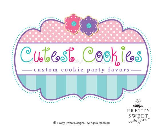 Cookie Logo Design, Pink logo, Pink Cookie Logo, Sweet Designs And Custom Business Branding For Your Bakery