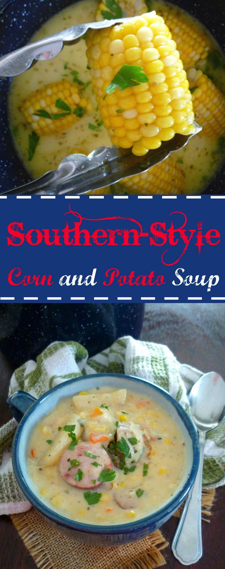 Southern-Style Corn and Potato Soup is the perfect soup that's an exception to the rule during the summer months. Creamy, thick, and delicious are some of the keywords that come to mind when eating this Southern-Style Corn and Potato Soup. Made with leftover fresh sweet corn on the cob, sliced russet potatoes, bite-size smoked sausage slices, chopped sweet red mini peppers, celery, heavy cream, garden fresh herbs, and Cajun seasoning.